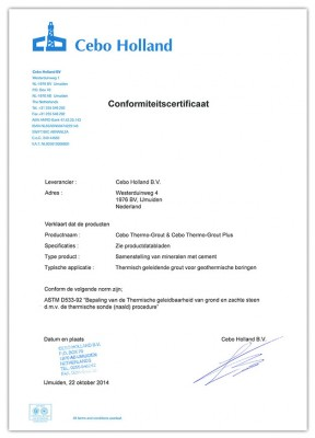 <B>Cebo - Thermo-Grout (plus), Conformiteitscertificaat</B>